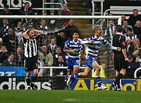 Photo: Andrew Unwin.<br /> Newcastle United v Reading. The Barclays Premiership. 06/12/2006.<br /> Newcastle's Nicky Butt (L) cannot believe it as Reading's James Harper (R) celebrates his goal.