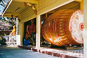 Large drum which is beat for good luck, buddhist temple at Tat Phanom, Thailand <br />