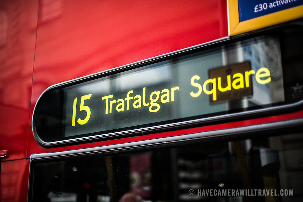 The sign of the Number 15 bus to Trafalgar Square in London, UK.