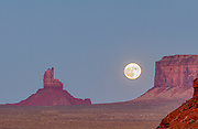 North America, USA, Arizona.  Monument Valley.  Super Moon rising over the Valley.