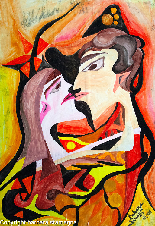 abstract image with a facing woman and man heads central figure in the act of wanting to kiss, with abstract round and bended shapes and geometric forms.