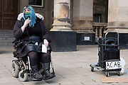 Disabled protester speaks to those gathered in the city centre at the Kill the Bill protest on 3rd April 2021 in Birmingham, United Kingdom. Demonstrations have been held all over the UK against the The Police, Crime, Sentencing and Courts Bill, whose legislation, which covers a broad range of issues, would give police more powers in controlling non-violent or static protests and imposing a set of new rules for police to deploy. Protesters see the bill as a disproportionate controls on freedom of expression and their right to protest peacefully.