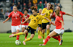 October 9, 2018 - Biel, SWITZERLAND - Switzerland's defender Noelle Maritz and Belgium's Tessa Wullaert pictured in action during a soccer game between Switzerland and Belgium's national team the Red Flames, Tuesday 09 October 2018, in Biel, Switzerland, the return leg of the play-offs qualification games for the women's 2019 World Cup. BELGA PHOTO DAVID CATRY (Credit Image: © David Catry/Belga via ZUMA Press)