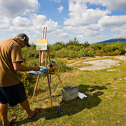 Artist Dennis Morton paints a study of Mount Monadnock from Gap Mountain in Troy, New Hampshire.  Society for the Protection of New Hampshire Forests' Gap Mountain Reservation.