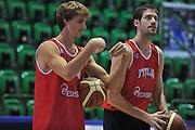 Sassari 15 Agosto 2012 - qualificazioni Eurobasket 2013 - allenamento<br /> Nella Foto : ACHILLE POLONARA ANGELO GIGLI<br /> Foto Ciamillo
