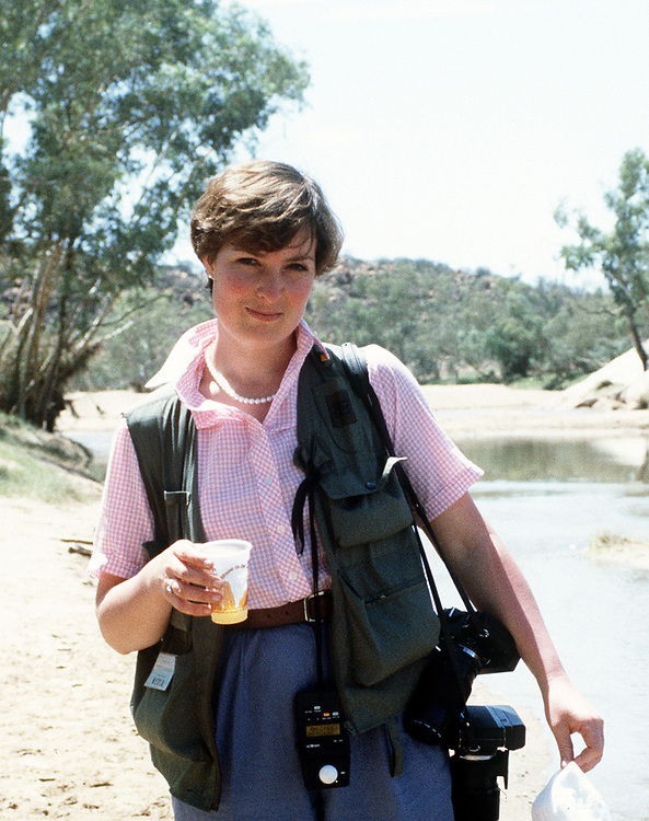 British photographer Jayne Fincher seen in Alice Springs, Australia during the tour of the Prince and Princess of Wales in March 1983/