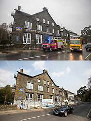 © Licensed to London News Pictures. 11/05/2016. Glenridding UK. FIVE MONTH COMPARISON OF FLOODED VILLAGE OF GLENRIDDING. Top picture taken 10/12/2015 shows the Glenridding Hotel that was flooded during storm Desmond damaging the whole ground floor including the kitchen, bar & coffee shop in December. Bottom picture taken 10/05/2016 shows the Glenridding Hotel that is closed until further notice five months on from storm Desmond. The diggers are still in the village of Glenridding five months after storm Desmond hit the area & flooded the village three times last December. Residents of the village have become frustrated at the Environment Agency after it took almost four months for the agency to start work on new flood defences leaving the village looking like a building site during the normally busy tourist period essential to get the area back on it's feet. Photo credit: Andrew McCaren/LNP