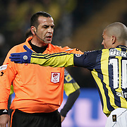 Referee's Bunyamin GEZER (L) during their Turkish superleague soccer derby match Fenerbahce between Trabzonspor at the Sukru Saracaoglu stadium in Istanbul Turkey on Sunday 30 January 2011. Photo by TURKPIX
