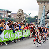 Competitors ride their bikes during the ITU women's elite triathlon world championships series final in Budapest, Hungary, Sunday, 12. September 2010. ATTILA VOLGYI