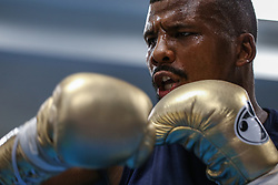 August 10, 2017 - Las Vegas, Nevada, USA - BADOU JACK performs a workout during a media day at the Mayweather Boxing Club in Las Vegas, Nevada. Jack will fight Nathan Cleverly in the WBA Light Heavyweight Championship at the T-Mobile Arena in Nevada on August 26. (Credit Image: © Joel Angel Juarez via ZUMA Wire)