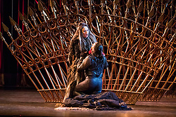 A new production of Verdi's dark operatic thriller, given by the Edinburgh International Festival's 2017 resident company Teatro Regio of Turin, conducted by Gianandrea Noseda and directed by Emma Dante. The production runs from 18-20 August at the Festival Theatre in Edinburgh.<br /> <br /> Pictured: Anna Pirozzi (Lady Macbeth), Dalibor Jenis (Macbeth)