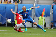 Martin Skrtel of Slovakia fouls and brings down Jonathan Williams of Wales in the penalty area but no penalty is awarded. Euro 2016, Wales v Slovakia at Matmut Atlantique , Nouveau Stade de Bordeaux  in Bordeaux, France on Saturday 11th June 2016, pic by  Andrew Orchard, Andrew Orchard sports photography.