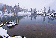 Early winter storm at Gem Lake, John Muir Wilderness, Sierra Nevada Mountains, California
