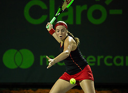 March 29, 2018 - Key Biscayne, Florida, United States - Jelena Ostapenko, from Latvia, in action during her semi final match against Danielle Collins, of the USA, a the Miami Open in Key Biscayne. Ostapenko defeated Collins 7-6(1), 6-4 in Miami, on March 29, 2018. (Credit Image: © Manuel Mazzanti/NurPhoto via ZUMA Press)