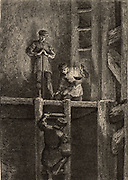 Miners in the Harz mines, Germany, descending the ladder shaft by the light of an oil lamp.  From 'Underground Life; or, Mines and Miners' by Louis Simonin (London, 1869). Wood engraving.