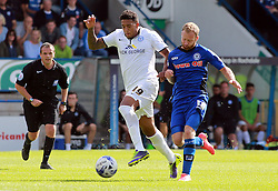 Peterborough United's Nathaniel Mendez-Laing in action with Rochdale's Matty Done - Photo mandatory by-line: Joe Dent/JMP - Mobile: 07966 386802 09/08/2014 - SPORT - FOOTBALL - Rochdale - Spotland Stadium - Rochdale AFC v Peterborough United - Sky Bet League One - First game of the season