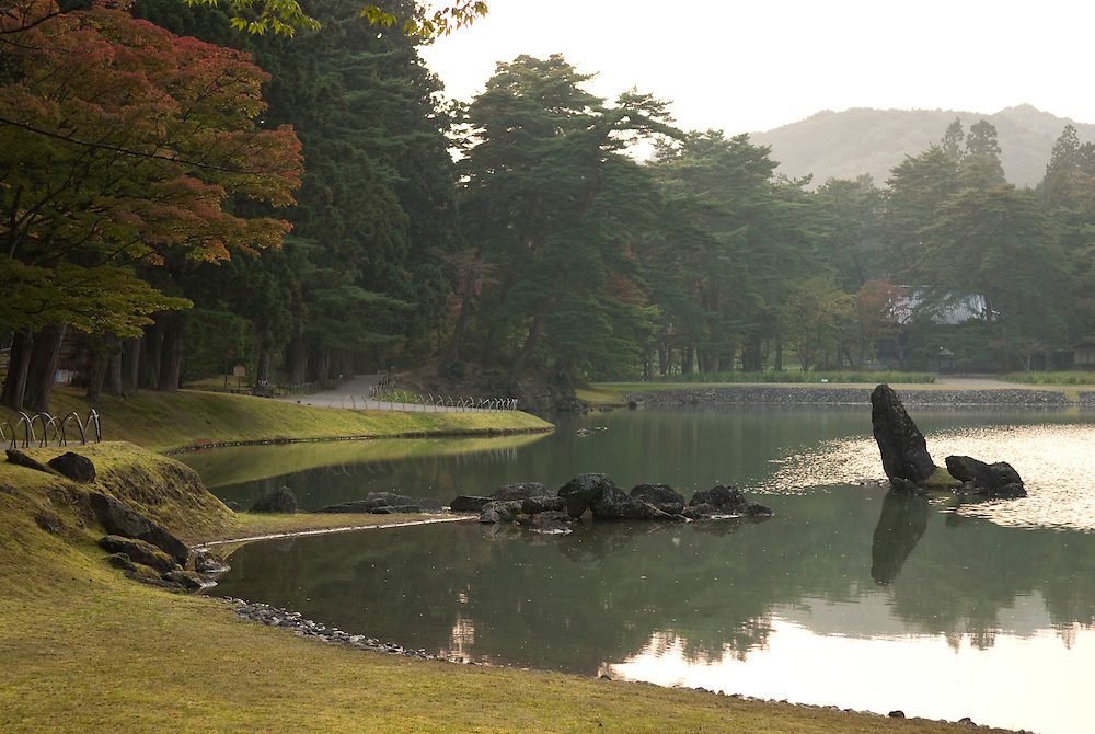 """A Japanese garden at Motsuji temple, Hiraizumi, Japan, 28 August 2008. The temple was founded in 850. Hiraizumi in Northern Japan flourished as the seat of the Oshu Fujiwara clan for around 100 years from the end of the 12th century. The city was built to be an earthly recreation of the Buddhist """"Pure Land"""" or Nirvana."""