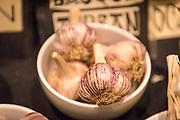 GARLIC, Allium sativum<br />Breeder: Avram Drucker, Garlicana<br />Chef: Sean Hammond, Luce<br />Dish: Roast garlic and white bean crostini