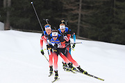 Tarjei Boe (NOR) ahead of Johannes Dale and Johannes Thingnes Boe (NOR) during the  Men 15 Km at the IBU Biathlon World Championships, Sunday, Feb. 23, 2020, in Antholtz-Anterselva, Italy. (Pierre Teyessot-ESPA-Images/Image of Sport)
