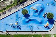 Une place de jeux à Uvrier en Valais (Suisse), est une place de jeux et d'attractions qui est ferme a cause du conoravisus, photographie en avril 2020. (Studio54/ OLIVIER MAIRE)