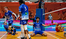 Dennis Borst of Lycurgus, Bennie Tuinstra of Lycurgus, Hossein Ghanbari of Lycurgus celebrate during the cup final between Amysoft Lycurgus vs. Draisma Dynamo on April 18, 2021 in sports hall Alfa College in Groningen