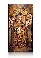 Gothic Catalan altarpiece of Saint Peter enthroned, by Roderic d'Orsona of Valencia, circa 1475, tempera and gold leaf on wood.  National Museum of Catalan Art, Barcelona, Spain, inv no: MNAC 15816. Against a white background. . .<br /> <br /> If you prefer you can also buy from our ALAMY PHOTO LIBRARY  Collection visit : https://www.alamy.com/portfolio/paul-williams-funkystock/gothic-art-antiquities.html  Type -     MANAC    - into the LOWER SEARCH WITHIN GALLERY box. Refine search by adding background colour, place, museum etc<br /> <br /> Visit our MEDIEVAL GOTHIC ART PHOTO COLLECTIONS for more   photos  to download or buy as prints https://funkystock.photoshelter.com/gallery-collection/Medieval-Gothic-Art-Antiquities-Historic-Sites-Pictures-Images-of/C0000gZ8POl_DCqE