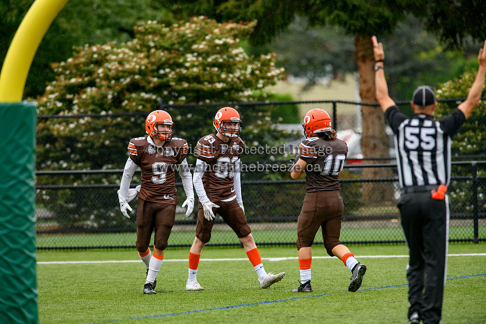 CHILLIWACK, BC - SEPTEMBER 11: Mike O'Shea #83, Colby Milleto #10 and Matthew Sibley #9 of Okanagan Sun celebrate a touchdown against the Westshore Rebels at Exhibition Stadium in Chilliwack, BC, Canada. (Photo by Marissa Baecker/Shoot the Breeze)