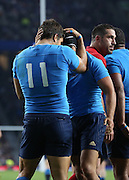 Giovanbattista Venditti (Italy's winger) celebrating scoring Italy's first try in the rugby world cup finals during the Rugby World Cup Pool D match between France and Italy at Twickenham, Richmond, United Kingdom on 19 September 2015. Photo by Matthew Redman.