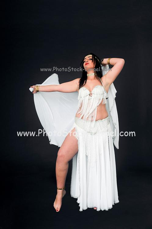 Belly dancer in white On black Background