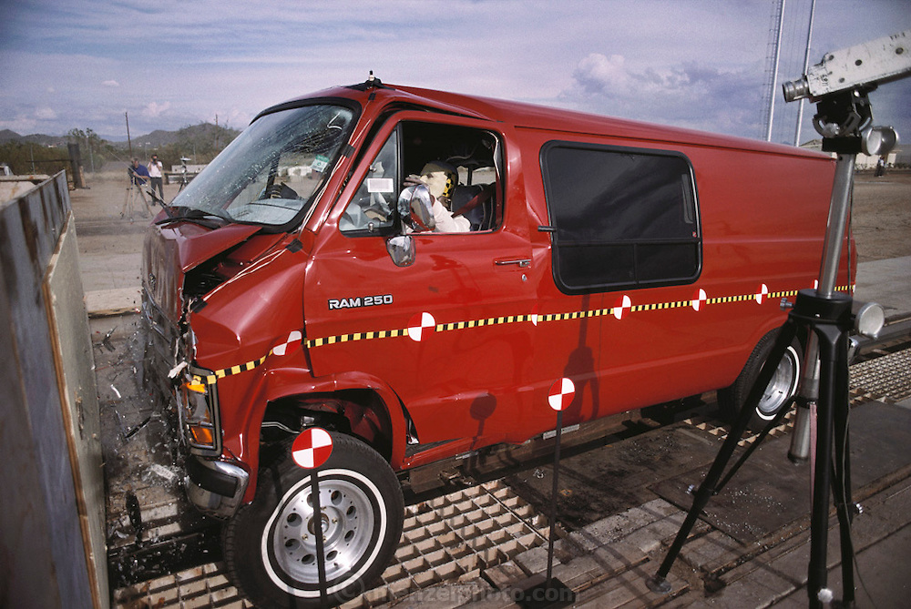 Failure Analysis Associates, Inc. (an engineering and scientific consulting firm now called Exponent)..Crash test. Van moving 30 mph into stationary barrier for governmental seatbelt certification. Phoenix, Arizona. Phoenix, Arizona.