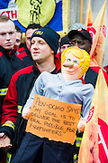 The Fire Brigades Union holds a protest rally and marc.  Stating at Methodist Central Hall and then heading for Parliament. They are demanding a farer pension settlement and a rethink of the increased retirement age. They accuse Penny Mordaunt, the minister responsible, of lieing to them about the changes and their impact. Westminster London, UK 25 Feb 2015