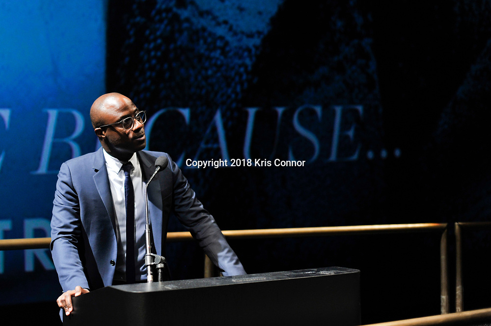 """WASHINGTON, DC - OCTOBER 27: Director/screenwriter Barry Jenkins attends the closing night screening of """"IF BEALE STREET COULD TALK"""" at the inaugural Smithsonian African American Film Festival 2018 at National Air and Space Museum in Washington DC on October 27th, 2018. (Photo by Kris Connor/Annapurna Pictures)"""