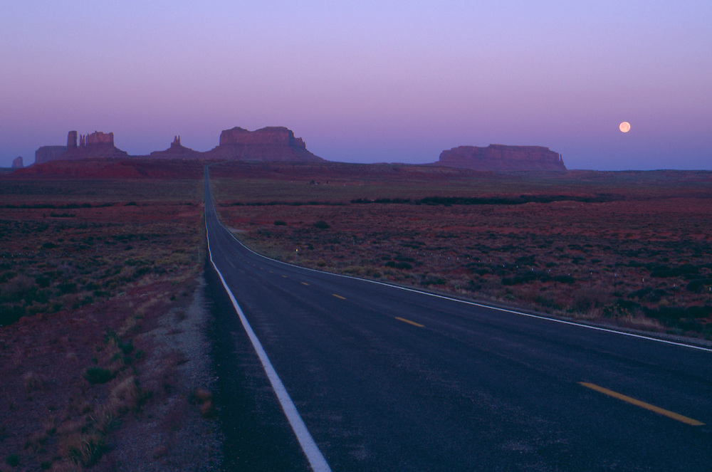 Highway 163 into Monument Valley at dawn.