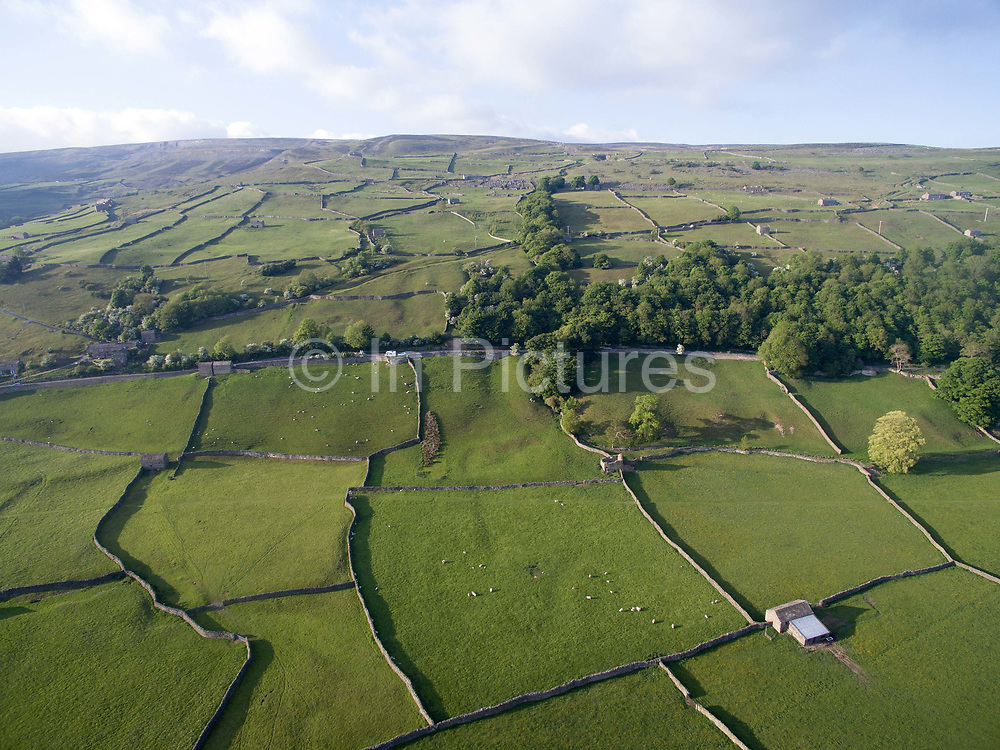 An aerial view of a typical Upper Swaledale landscape near the village of Gunnerside in North Yorkshire, United Kingdom on 28th May 2018. Swaledale is the valley of the river Swale and is one of the northernmost dales valleys in the Yorkshire Dales National Park
