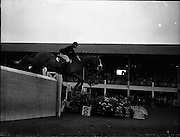 """03/08/1960<br /> 08/03/1960<br /> 03 August 1960<br /> R.D.S Horse Show Dublin (Wednesday).<br /> Mrs Dawn Wofford of Great Britain clearing a 6'4' wall in the fifth round of the Epreuve de Puissance Competition, on """"Hollandia"""" owned by Mr. Warren Wofford and bred in the U.S.A.. After five clear rounds, Mrs Wofford was placed joint first with Captain W.A. Ringrose."""