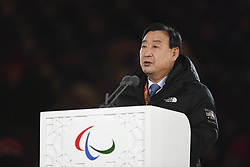 PYEONGCHANG, March 9, 2018  Lee Hee-beom, president of the PyeongChang organizing committee, gives a speech during the opening ceremony for the 2018 PyeongChang Winter Paralympic Games at PyeongChang Olympic Stadium, PyeongChang, South Korea, on March 9, 2018. (Credit Image: © Xia Yifang/Xinhua via ZUMA Wire)