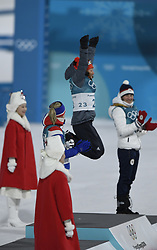 February 10, 2018 - Pyeongchang, South Korea - LAURA DAHLMEIER of Germany leaps on the podium following her first place finish in the Womens Biathlon 7.5km Sprint Saturday, February 10, 2018 at Alpensia Biathlon Centre at the Pyeongchang Winter Olympic Games.  Photo by Mark Reis, ZUMA Press/The Gazette (Credit Image: © Mark Reis via ZUMA Wire)