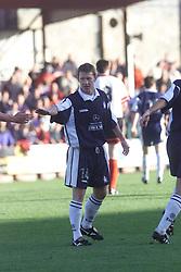 Kevin McAllister celebrates after scoring their third goal, Falkirk v Clyde, 2000..