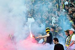 July 7, 2018 - Trelleborg, SVERIGE - 180707 AIK:s supportrar eldar bengaler under fotbollsmatchen i Allsvenskan mellan Trelleborg och AIK den 7 juli 2018 i Trelleborg  (Credit Image: © Christian ÖRnberg/Bildbyran via ZUMA Press)