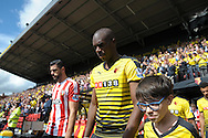 Allan-Romeo Nyom of Watford walking out to the pitch from the tunnel before k/o. Barclays Premier League, Watford v Southampton at Vicarage Road in London on Sunday 23rd August 2015.<br /> pic by John Patrick Fletcher, Andrew Orchard sports photography.