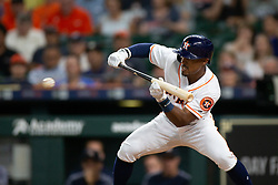 May 22, 2018 - Houston, TX, U.S. - HOUSTON, TX - MAY 22: Houston Astros center field Tony Kemp (18) lays down a bunt  in the third inning during an MLB baseball game between the Houston Astros and the San Francisco Giants on May 22, 2018 at Minute Maid Park in Houston, Texas. (Photo by Juan DeLeon/Icon Sportswire) (Credit Image: © Juan Deleon/Icon SMI via ZUMA Press)