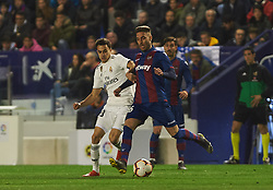 February 24, 2019 - Valencia, Valencia, Spain - Ruben Rochina of Levante UD and Sergio Reguilon of Real Madrid during the La Liga match between Levante and Real Madrid at Estadio Ciutat de Valencia on February 24, 2019 in Valencia, Spain. (Credit Image: © AFP7 via ZUMA Wire)