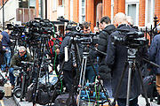 Members of the Worlds media outside the Ecuadorian Embassy on 5th April 2019 in London, England, United Kingdom. Wikileaks has announced that their founder Julian Assange may be expelled from the Embassy within hours or days.