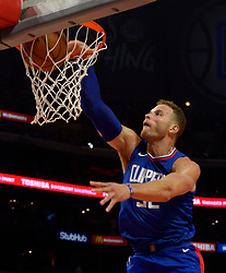 October 21, 2017 - Los Angeles, California, U.S. - Los Angeles Clippers' Blake Griffin slam dunks against the Phoenix Suns in the second half during an NBA basketball game at the Staples Center on Saturday, Oct 21, 2017 in Los Angeles. Los Angeles Clippers won 130-88. .(Photo by Keith Birmingham, Pasadena Star-News/SCNG) (Credit Image: © San Gabriel Valley Tribune via ZUMA Wire)