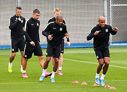 Manchester City players warm up during the training session at the Etihad Stadium ahead of the UEFA Champions League group D match against Juventus - Mandatory byline: Matt McNulty/JMP - 07966386802 - 14/09/2015 - FOOTBALL - Etihad Stadium -Manchester,England - UEFA Champions League