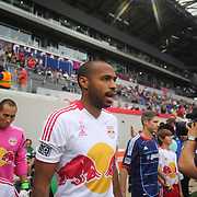Thierry Henry, New York Red Bulls, leads his team onto the field during the New York Red Bulls V Chicago Fire Major League Soccer regular season match at Red Bull Arena, Harrison. New Jersey. USA. 6th October 2012. Photo Tim Clayton