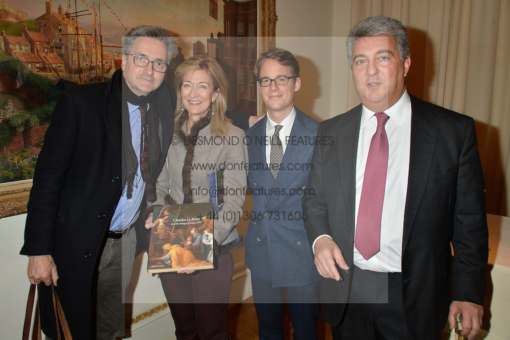 LONDON, ENGLAND 28 NOVEMBER 2016: Left to right, Sir Nicholas Penny, Laura Weinstock, Wolf Burchard and Adrian Sassoon at a reception to celebrate the publication of The Sovereign Artist by Christopher Le Brun and Wolf Burchard held at the Royal Academy of Art, Piccadilly, London, England. 28 November 2016.