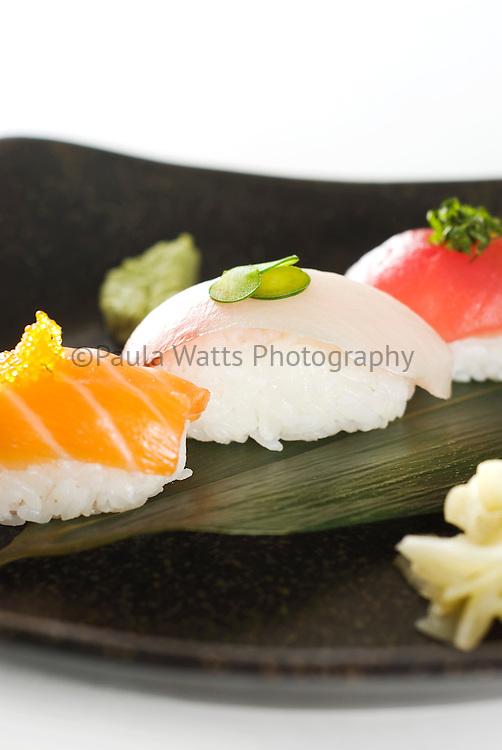 Fresh Japanese sashimi in simplistic arrangement and design