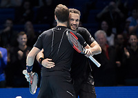 Tennis - 2017 Nitto ATP Finals at The O2 - Day Six<br /> <br /> Mens Doubles: Group Woodbridge/Woodforde: Lukasz Kubot (Poland) & Marcelo Melo (Brazil) Vs Jamie Murray (Great Britain) & Bruno Soares (Brazil) <br /> <br /> Jamie Murray (Great Britain) and Bruno Soares (Brazil) celebrate after reaching the semi final at the O2 Arena<br /> <br /> COLORSPORT/DANIEL BEARHAM