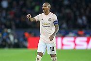 Manchester United Midfielder Ashley Young gestures during the Champions League Round of 16 2nd leg match between Paris Saint-Germain and Manchester United at Parc des Princes, Paris, France on 6 March 2019.